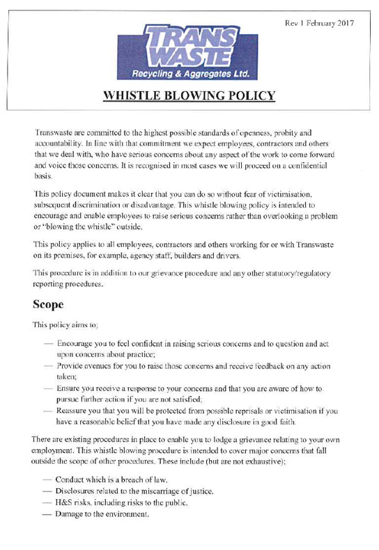 Whistle Blowing Policy