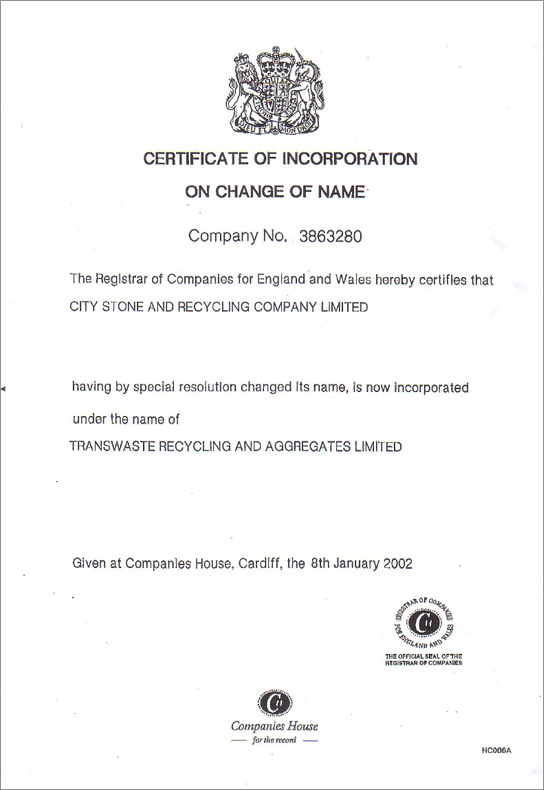 Certificate of Incorporation on Change of Name