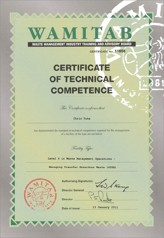 WAMITAB - Certificate of Technical Competence